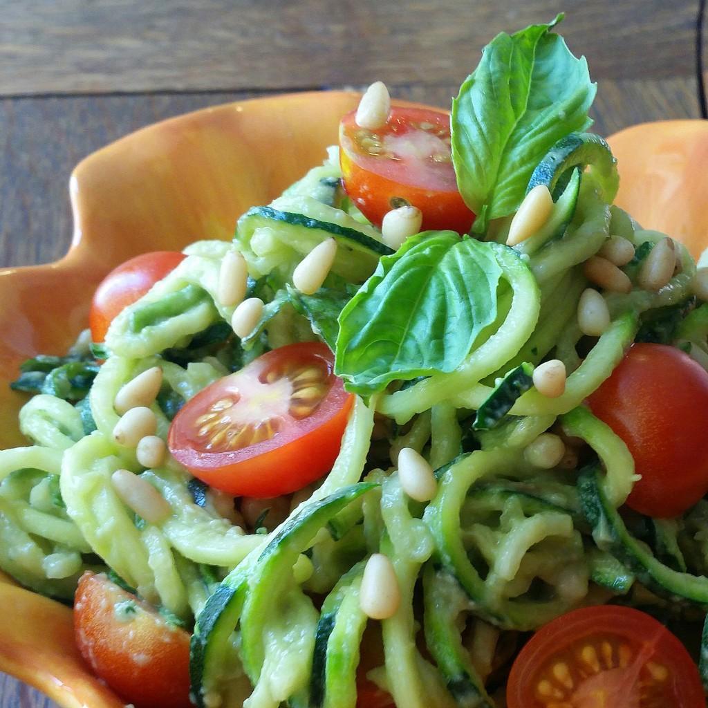 Creamy Avocado Pesto + Zucchini Noodles   Clovers & Kale   Vegan + Paleo