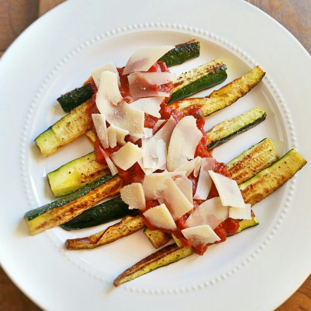 Roasted Zucchini sticks - Tomato Sauce - Parmesan - Clovers & Kale
