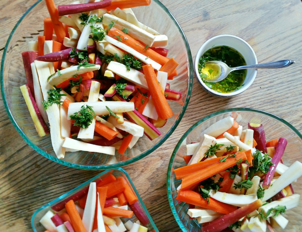 Instructions - Recipes - Herb Roasted - Parsnips & Carrots - Clovers & Kale