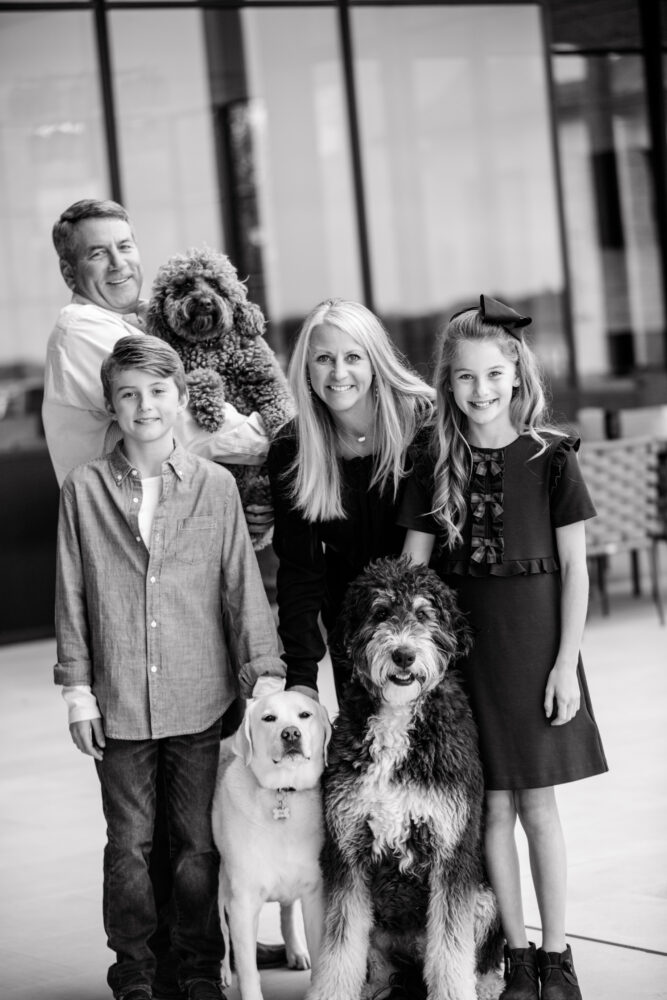 black and white portrait of family in Austin