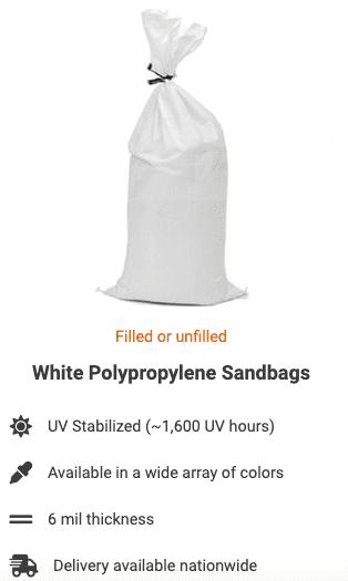 White Polypropylene Sandbags