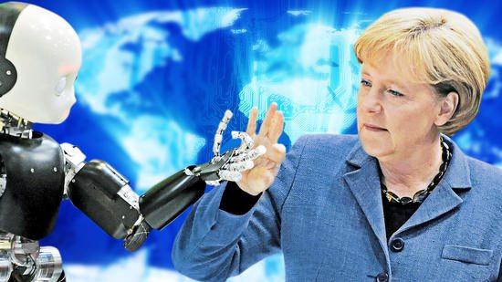 Angela Merkel and Industry 4.0 Robotics Clear