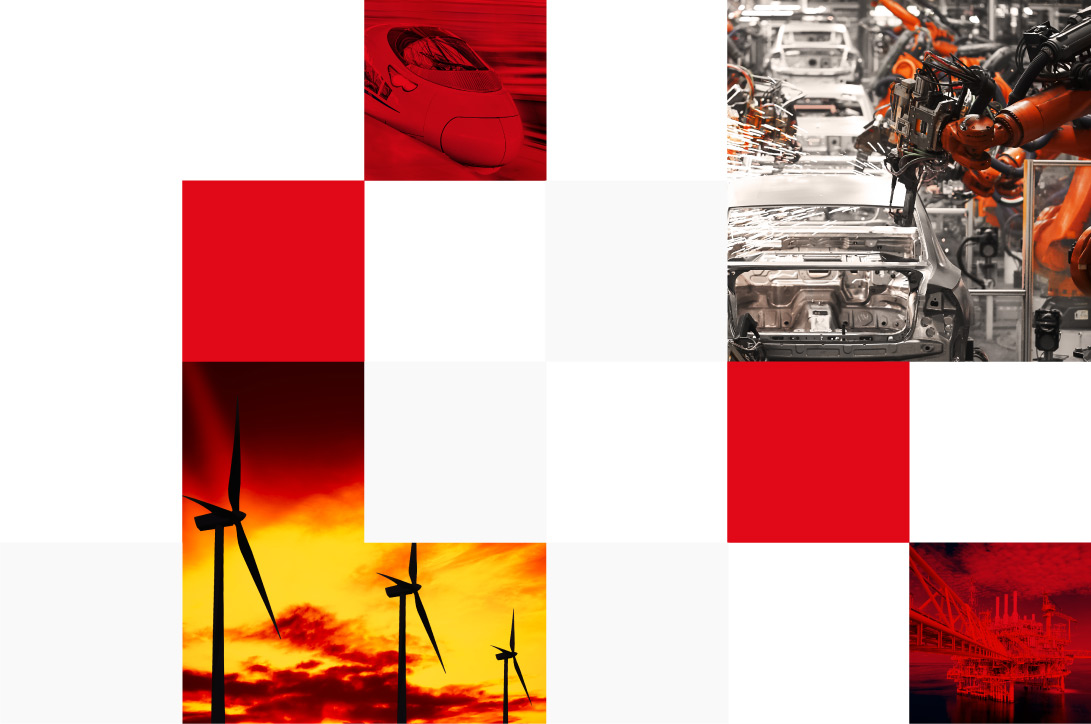 Wind turbines at sunset, car manufacturing, high-speed train and offshore oil rig