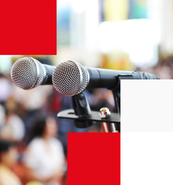 Closeup microphone in conference with people