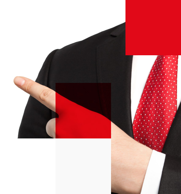 businessman pointing to the left