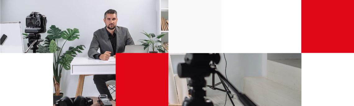 businessman recording content for social media
