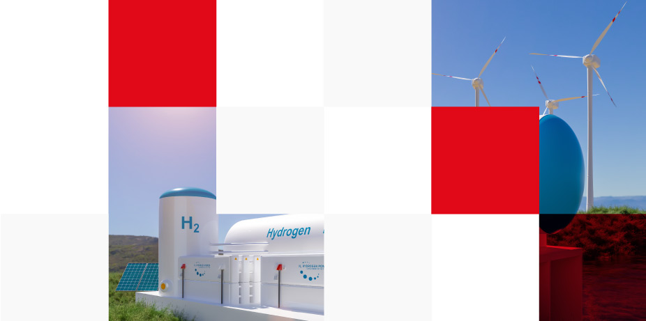 hydrogen gas solar panels and wind turbine