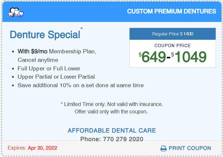 Affordable Dental Access, Denture Special Coupon, Lilburn, GA 30047