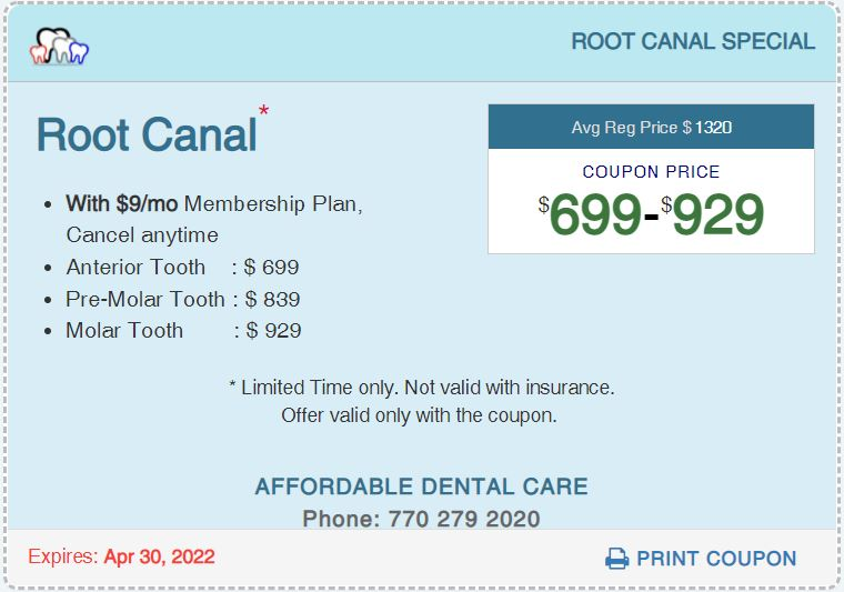 Affordable Dental Access, Root Canal Special Coupon, Lilburn, GA 30047