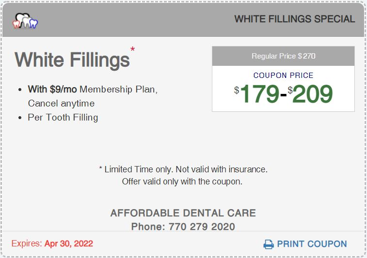 Affordable Dental Access, White Filling Special Coupon, Lilburn, GA 30047