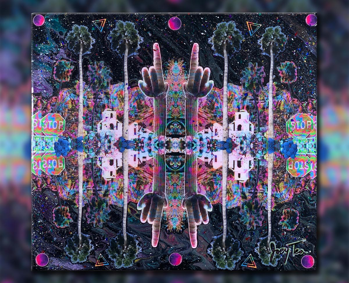 Psychedelic mixed media photo collage art. Neon desert by Joey Tea