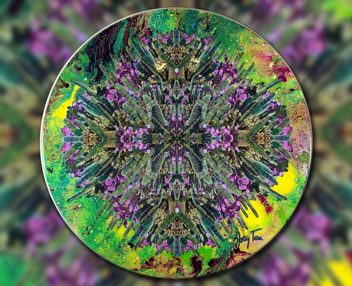 Psychedelic cactus photo collage mixed media art. Whole lot of Cacti by Joey Tea.