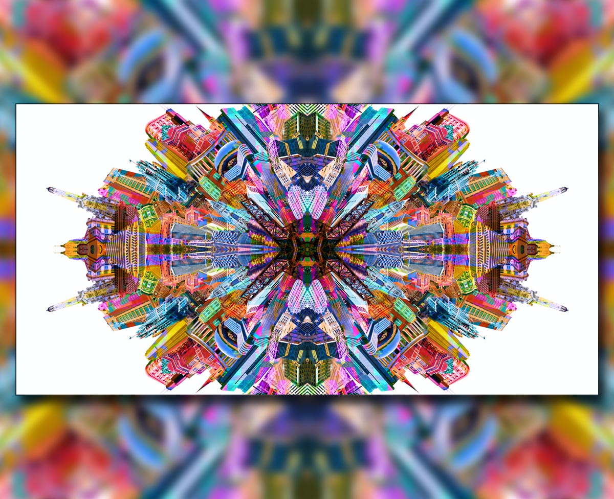 Psychedelic Chicago photo collage digital art. Chicago Kaleidoscope By Joey Tea