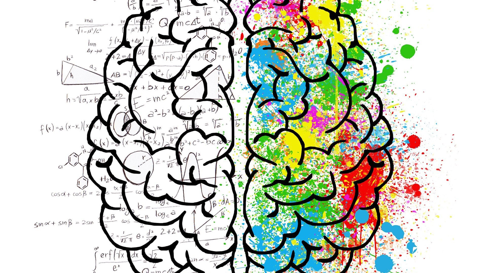 graphic of brain with overlaid formulas