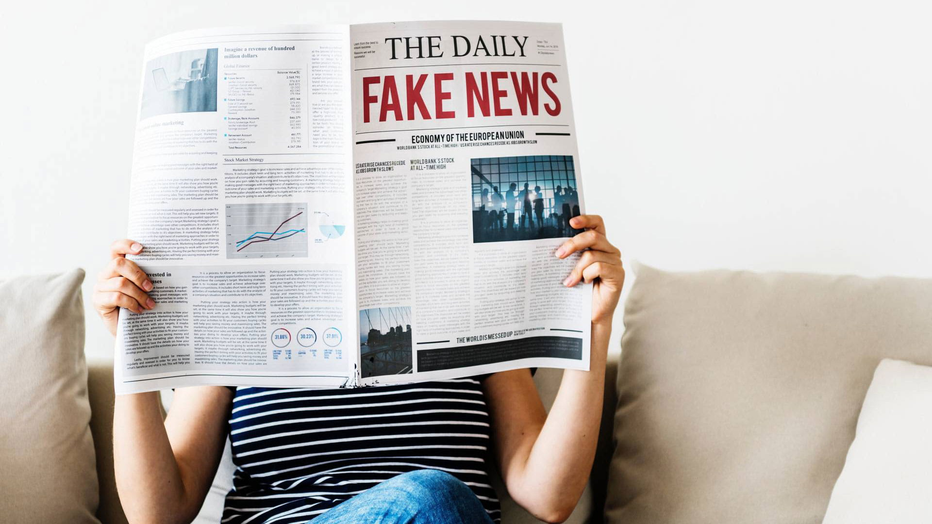 woman holding newspaper with fake news headline