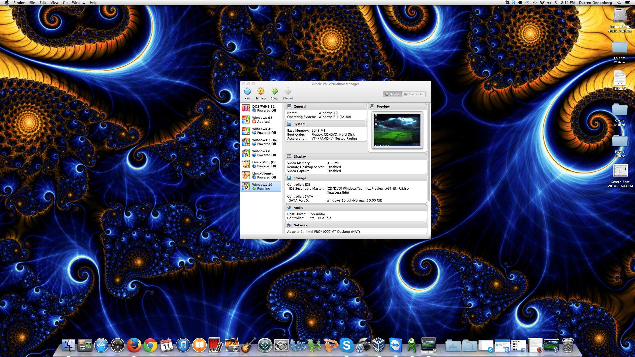 Oracle's VirtualBox running on my Mac