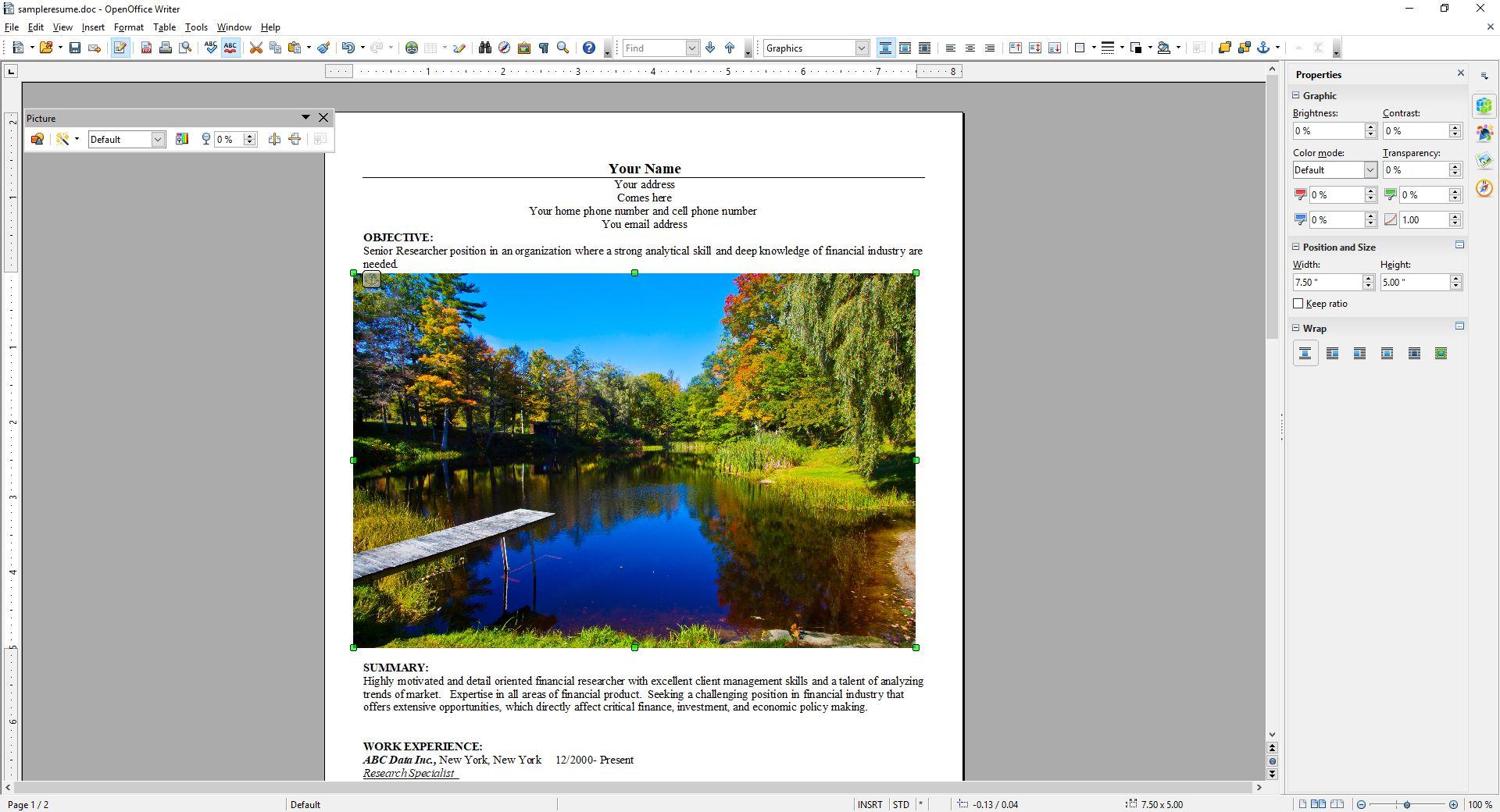 OpenOffice Insert Picture