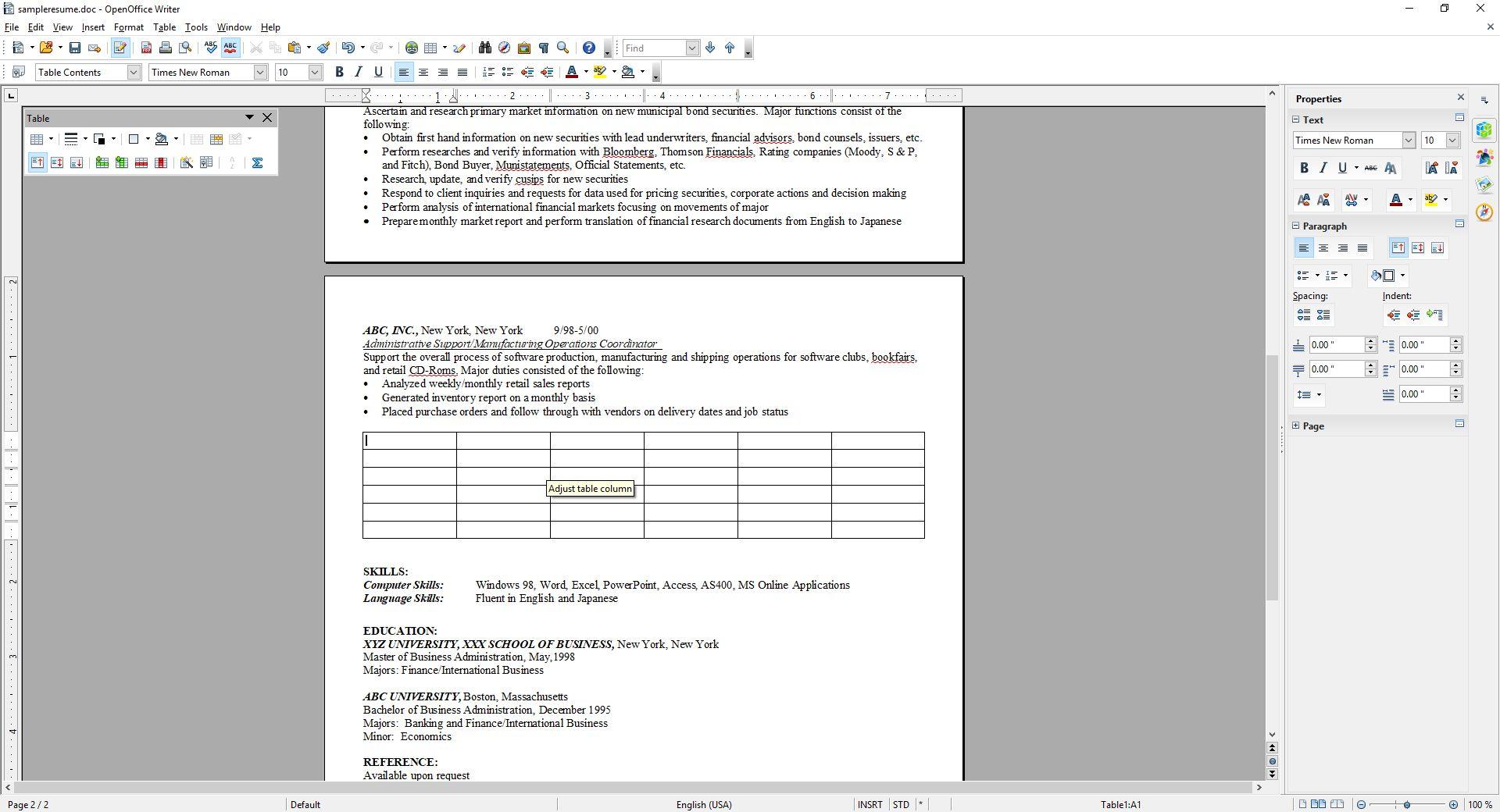 OpenOffice Insert Table