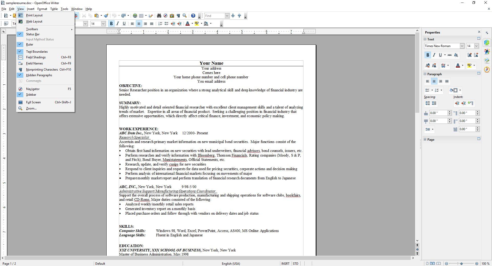 OpenOffice Text Boundaries