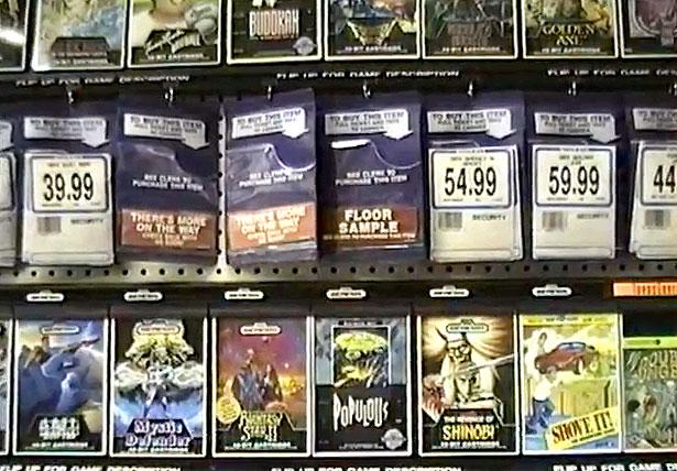 Sega Genesis games in Toys R Us, circa 1990
