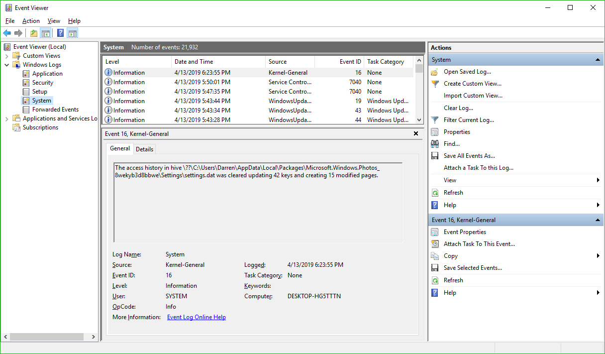 System Log in Event Viewer