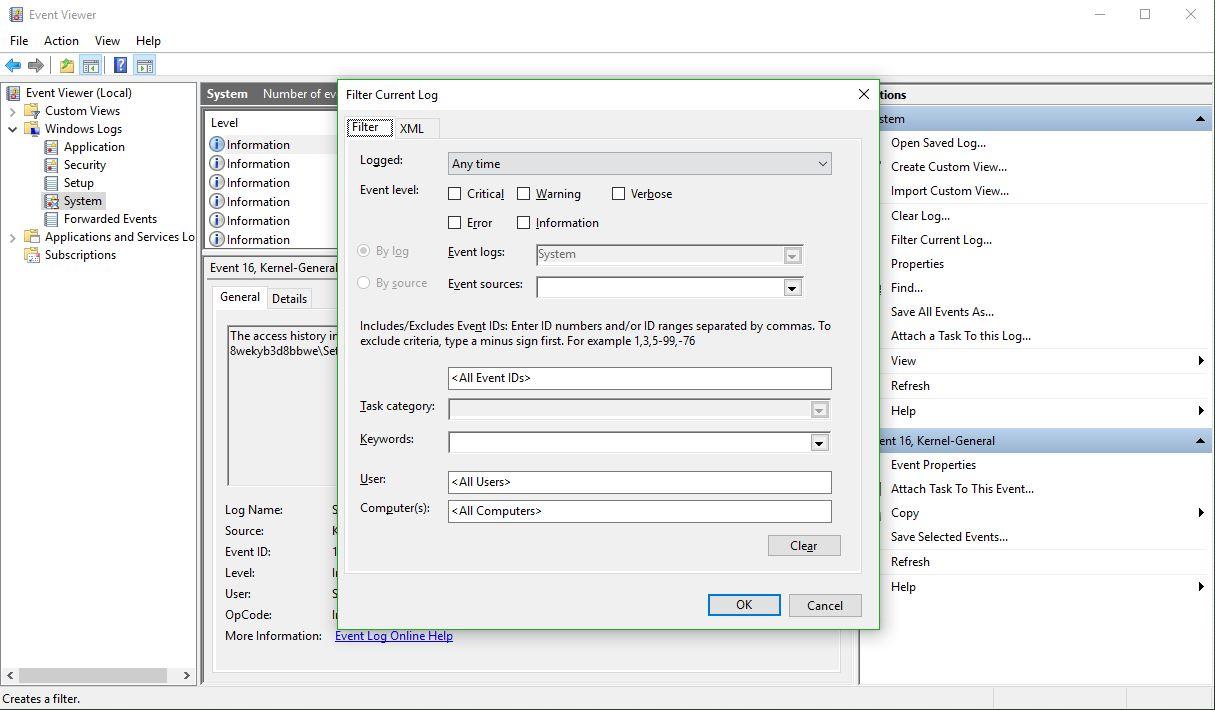 Filter Current Log dialog