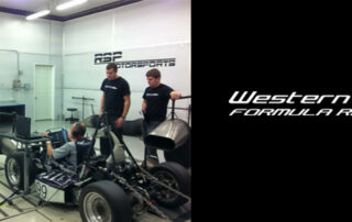 Photo of formula SAE racing car. Designed by students, components built by Armo-Tool