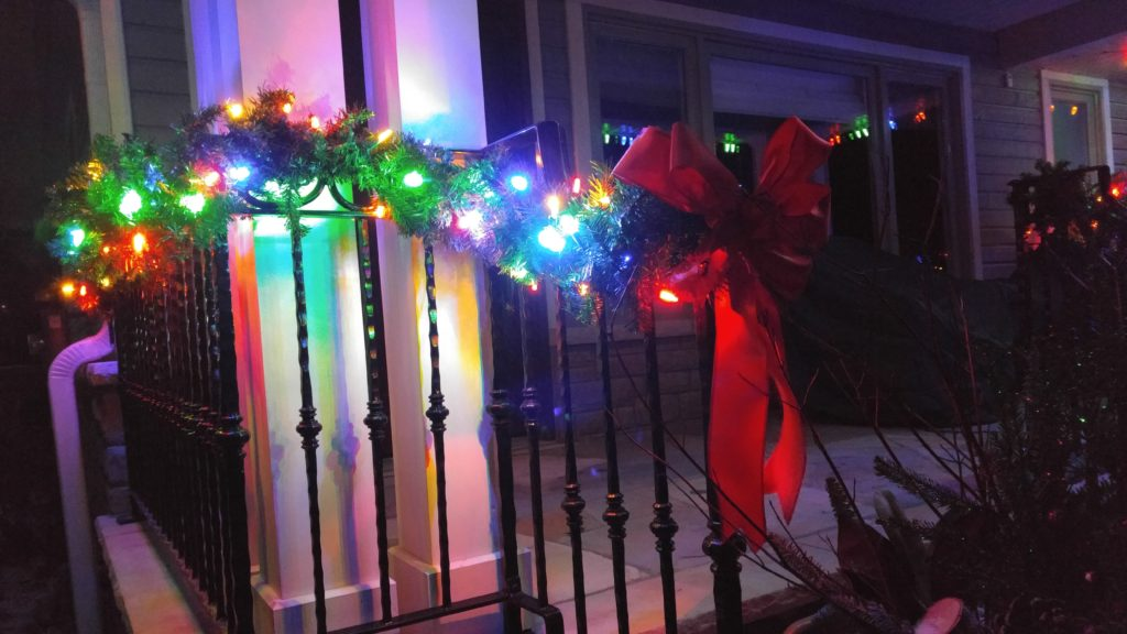 Close-up of multi-coloured garland
