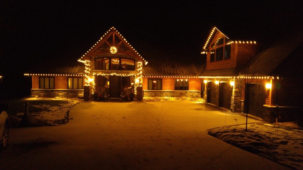 Stunning custom built home makes for a perfect Christmas display! Simple and elegant!