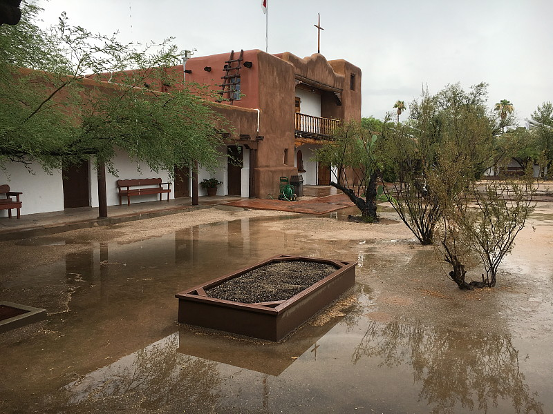 Minor flooding on a day of record rain elsewhere in Tucson.