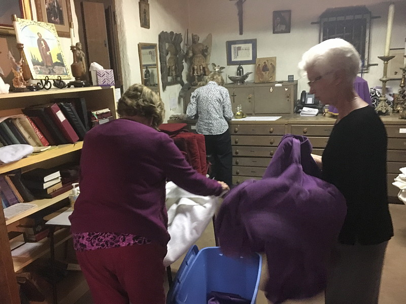 The Altar Guild hard at work during the Stripping of the Altars