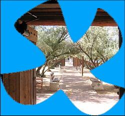 Taizé symbol with church doorway