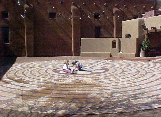 Children explore the labyrinth.