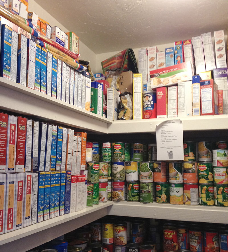 The food pantry at its fullest (which is unusual!).