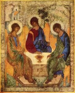 "Holy Trinity . Rublev, Andreĭ, Saint, d. ca. 1430"""
