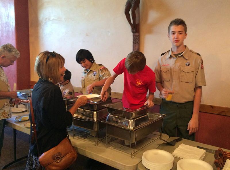 St. Michael's Boy Scout troop services a pancake bnreakfast on Episcopal School Sunday.