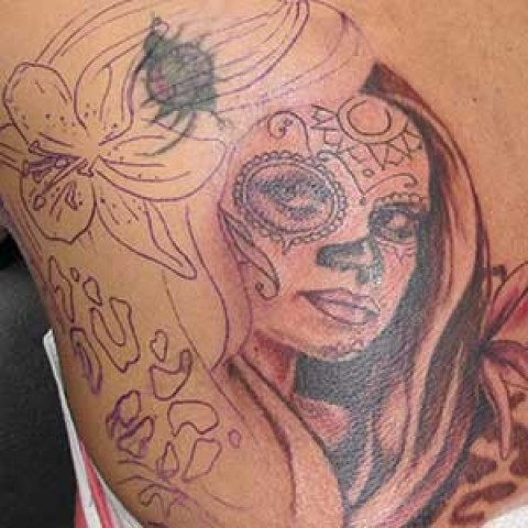 Photo Tutorial: day of dead tattoo on back