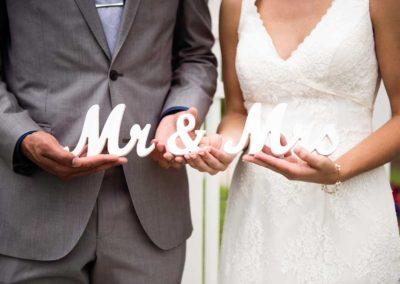 """white wooden """"Mr. & Mrs."""""""