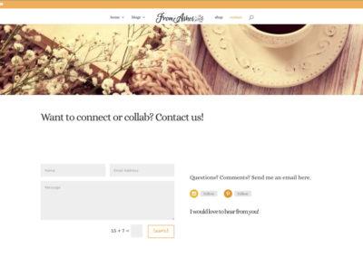 FromAshes.com - CONTACT - WordPress blog website design