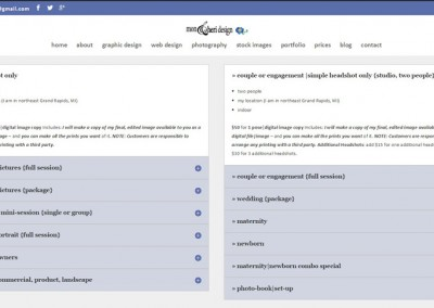 Responsive WordPress WEBSITE design - Grand Rapids MI-SCREENSHOT| prices page - WordPress blog website design