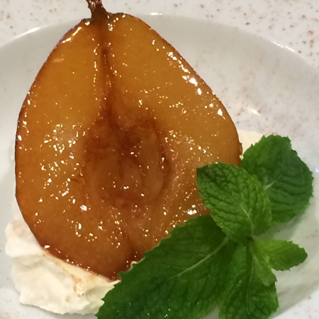 Marsala Caramelized Pears with Sweet Ricotta