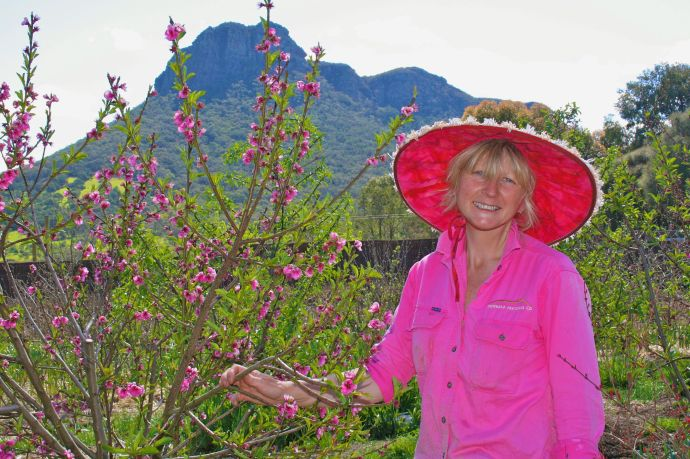 Michelle and her blossoming nectarine tree