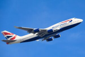 Picture of a British Airways plane flying
