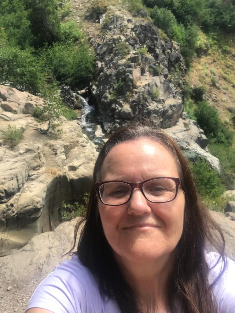 Kathy the blogger at Mill Creek Falls Trail in Lassen Volcanic Park