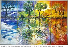 Picture divided into  four seasons. Winter is blue with snow on the ground. Spring is green with a tree and flowers. Summer is a green tree with sun shining down and fall is three trees with shades of burnt orange, yellos, and some green.