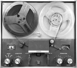 A tape recording rewinding