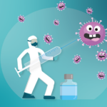 ANIMATED figure in a white suite with a face mask and gaint syringe in his hand with a COVID19 vaccine shooting at COVID19 cells who are scared.