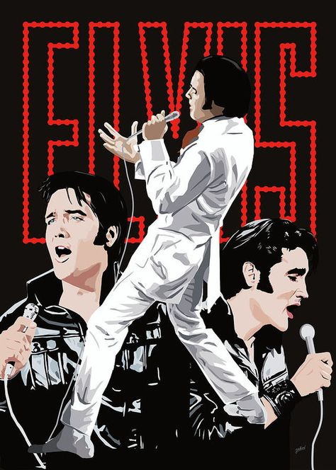 Elvis Presley in white outfit, singing in animation with two other animations of him below the stage singing