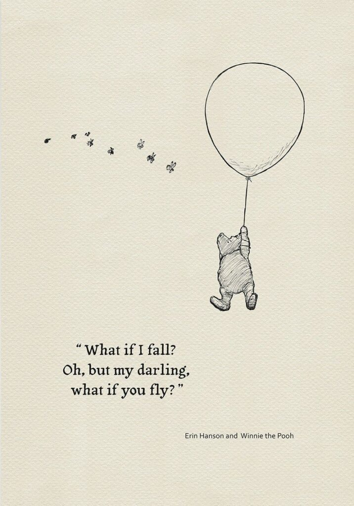 Winnie the pooh flying in the air holding a balloon. There are birds in the sky too.