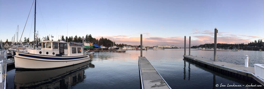 Moored in Eagle Harbor. Where are all the boats?